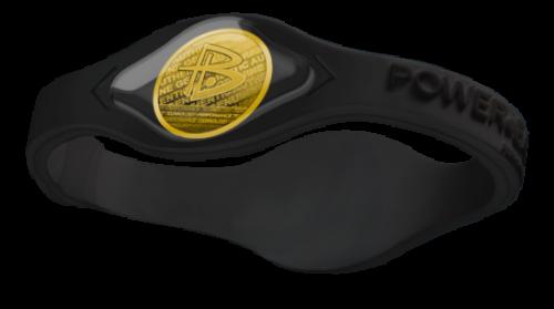 Silikonový Power Balance náramek černý (zlatý hologram)